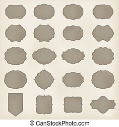 set, kunst, leder, ouderwetse , frame, vector, retro, mal, lable., texture., design.