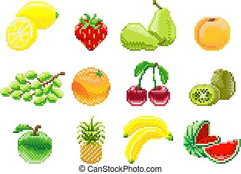 set, kunst, spel, fruit, video, 8, beetje, pixel, pictogram