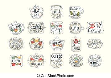 set, kunst, thee, etiketten, terrasjes, dranken, anders, winkel, weg, warme, nemen, getrokken, lettering., koffie, shapes., hand, store., lijn, bar, vector, donut., of, cakes