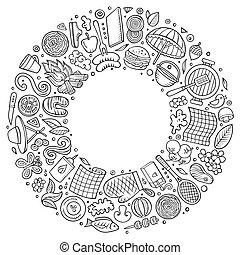 set, kunst, voorwerpen, doodle, hand, vector, getrokken,...