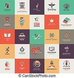 set, kwaliteit, ontworpen, iconen