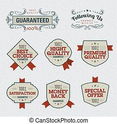 set, kwaliteit, premie, etiketten