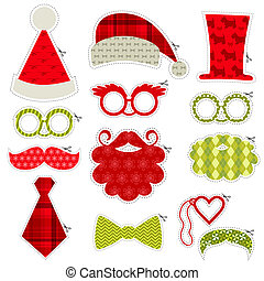 set, -, labbra, occhiali, maschere, vettore, baffi, photobooth, cappelli festa, natale
