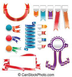 set, label, kleurrijke, lint