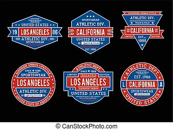 set labels college style, athletic sport typography for t shirt print