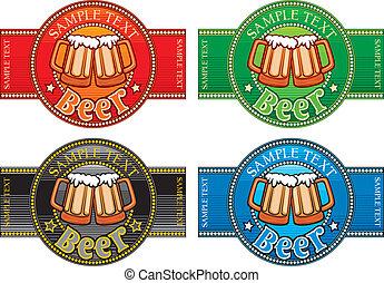set, labels), etichetta, birra, 4, (set