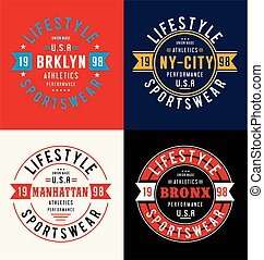 Set labels New York City athletic sport typography for t shirt print