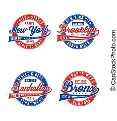 Set labels NYC typography design for t-shirt graphic