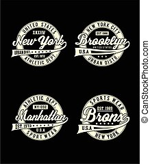 Set labels sport, typography design New York City for t-shirt graphic, vector image