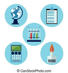 set laboratory research science vector illustration eps 10
