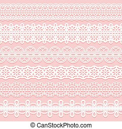 Set lace patterned ribbons. Seamless pattern for design of invitations, cards, etc.