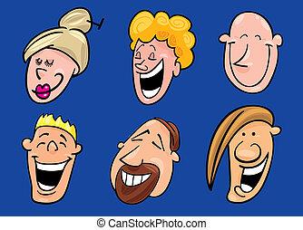 set, lachen, gezichten