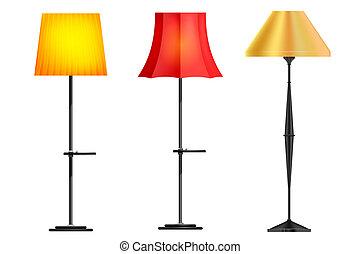 set, lampade, pavimento