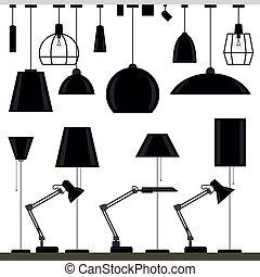 set, lampade