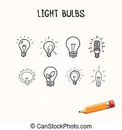 set, lampadine, icone, luce, hand-drawn, vettore, scarabocchiare