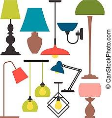 set, lamps.