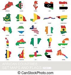 set, landkaarten, afrikaan, vlaggen, landen