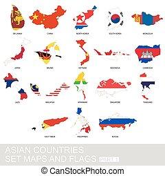 set, landkaarten, vlaggen, aziaat, landen