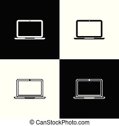 Set Laptop icons isolated on black and white background. Computer notebook with empty screen sign. Line, outline and linear icon. Vector Illustration