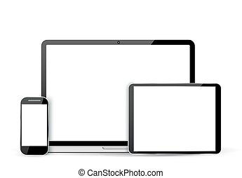 Set  laptop, tablet and mobile phone
