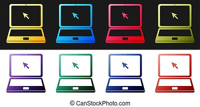 Set Laptop with cursor icon isolated on black and white background. Vector