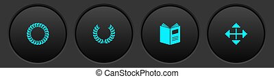 Set Laurel wreath, , Open book and Pixel arrows in four directions icon. Vector