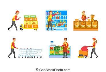 set, lavorante, supermercato, vettore, dipartimenti, negozio