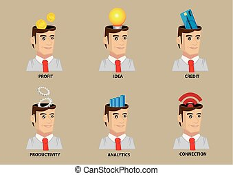 set, lavoratore, vettore, concettuale, impiegato, icona