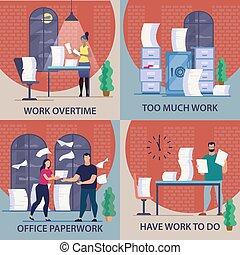set, lavoro, overtime., scritto, aviatore, informativo