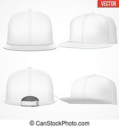 Set Layout of Male white rap cap.