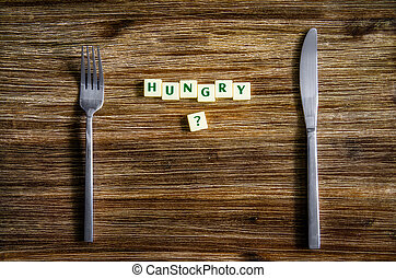 set, legno, domanda, affamato, argenteria, tavola