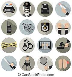 set., lei, polícia, ícone