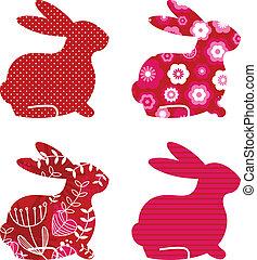 set, ), lente, abstract, vrijstaand, (, witte , konijntje, rood