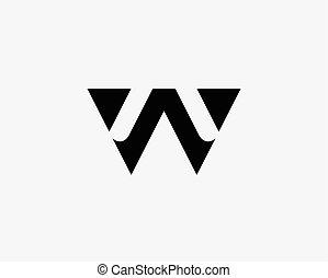 set, lettera, alfabeto, w, logotipo, icona