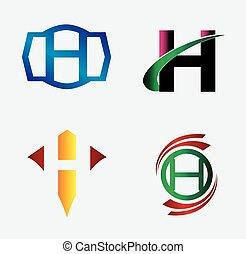 set, lettera h, sagoma, logotipo, icona