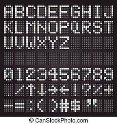 set, lettere, simboli, aeroporto, orario, meccanico, bianco