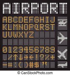 set, lettere, simboli, aeroporto, orario, meccanico