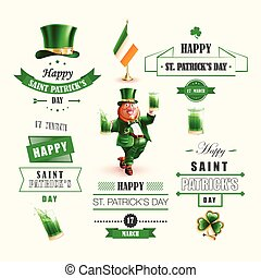 Set lettering Happy St. Patricks Day