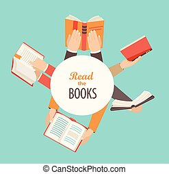 set, libri, tenere mani
