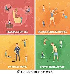 set, lichamelijk, compositions, activiteit