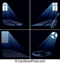 set, licht, binnen, -, venster, balken