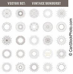 set, licht, verzameling, gedaantes, ouderwetse , geometrisch, sunburst., straal