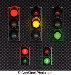 set, lichten, realistisch, verkeer, transparant, pictogram