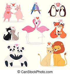 set, liefde, achtergrond, hearted, panda, minnaars, vrijstaand, dier, witte , mooi en gracieus, vogel, verliefd koppel, illustratie, karakters, datum, dag, gehouden van, flamingo, valentines, kat, vector, kussende , of