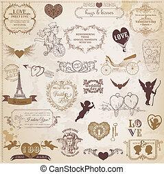 set, liefde, dag, valentine