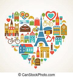 set, liefde, iconen, -, illustratie, vector, pars