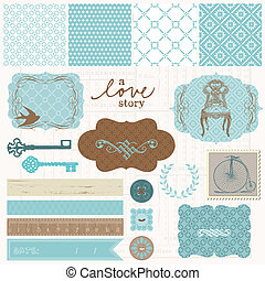 set, liefde, ouderwetse , -, communie, ontwerp, plakboek