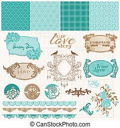 set, liefde, ouderwetse , -, vector, ontwerp, plakboek, communie
