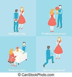 set, liefde, romantische, verhouding, geven, box., dag, valentijn, anniversary., bloem, kado, woman., trouwfeest, datum, voorstel, cadeau, paar, celebration., man