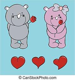 set, liefde, roos, neushoorn, baby, spotprent